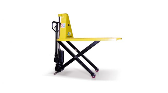 Hand pallet truck with manual lift pantograph